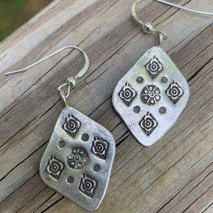 Tibetan hand carved silver earrings